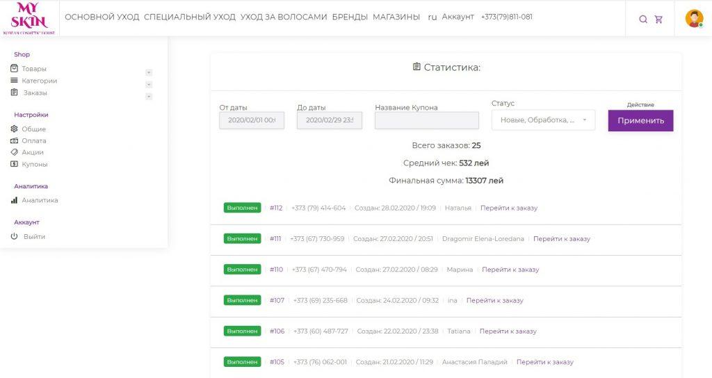 Общая статистика интернет магазина Myskin за февраль